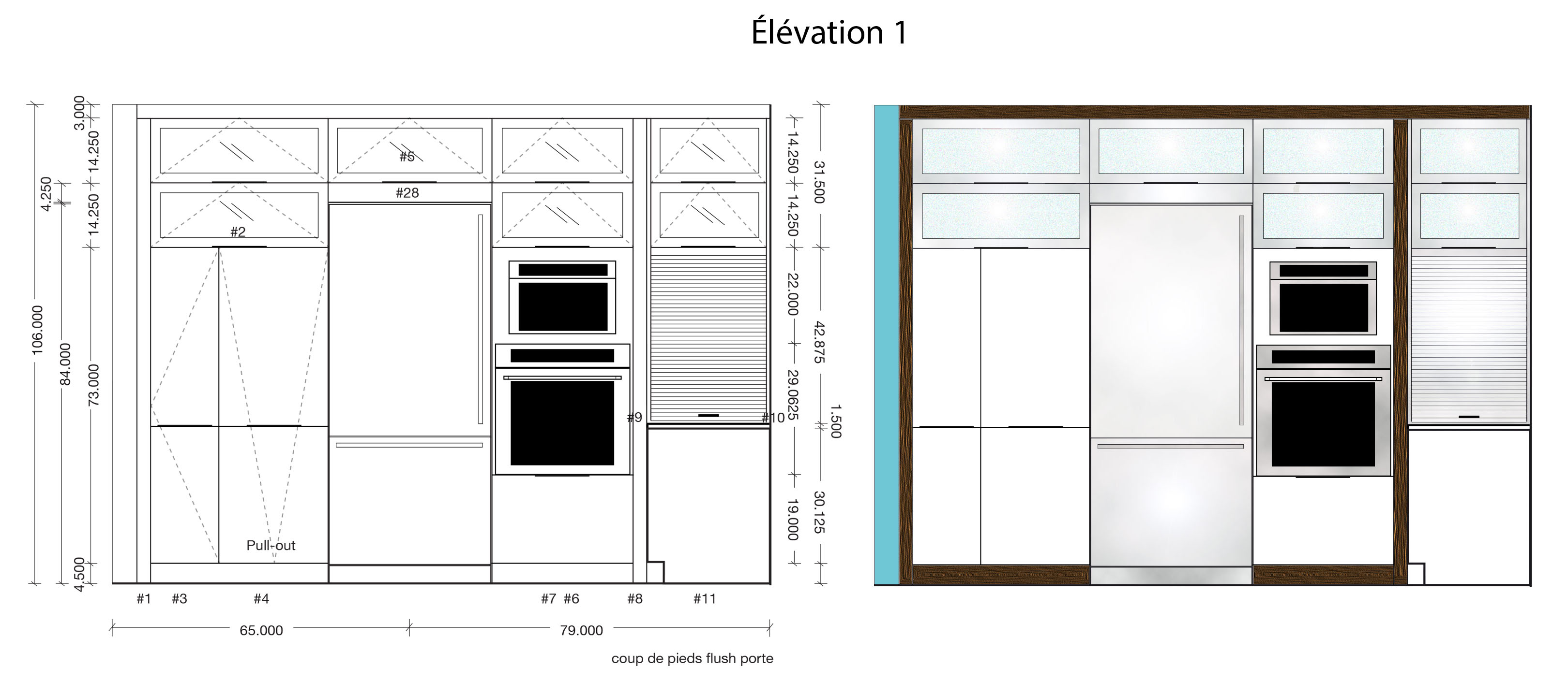 Plan And Elevation Cuisine : Design de cuisine judith godin